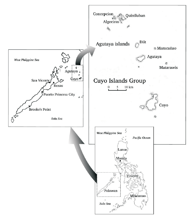 Map of Agutaya areas from Dictionary