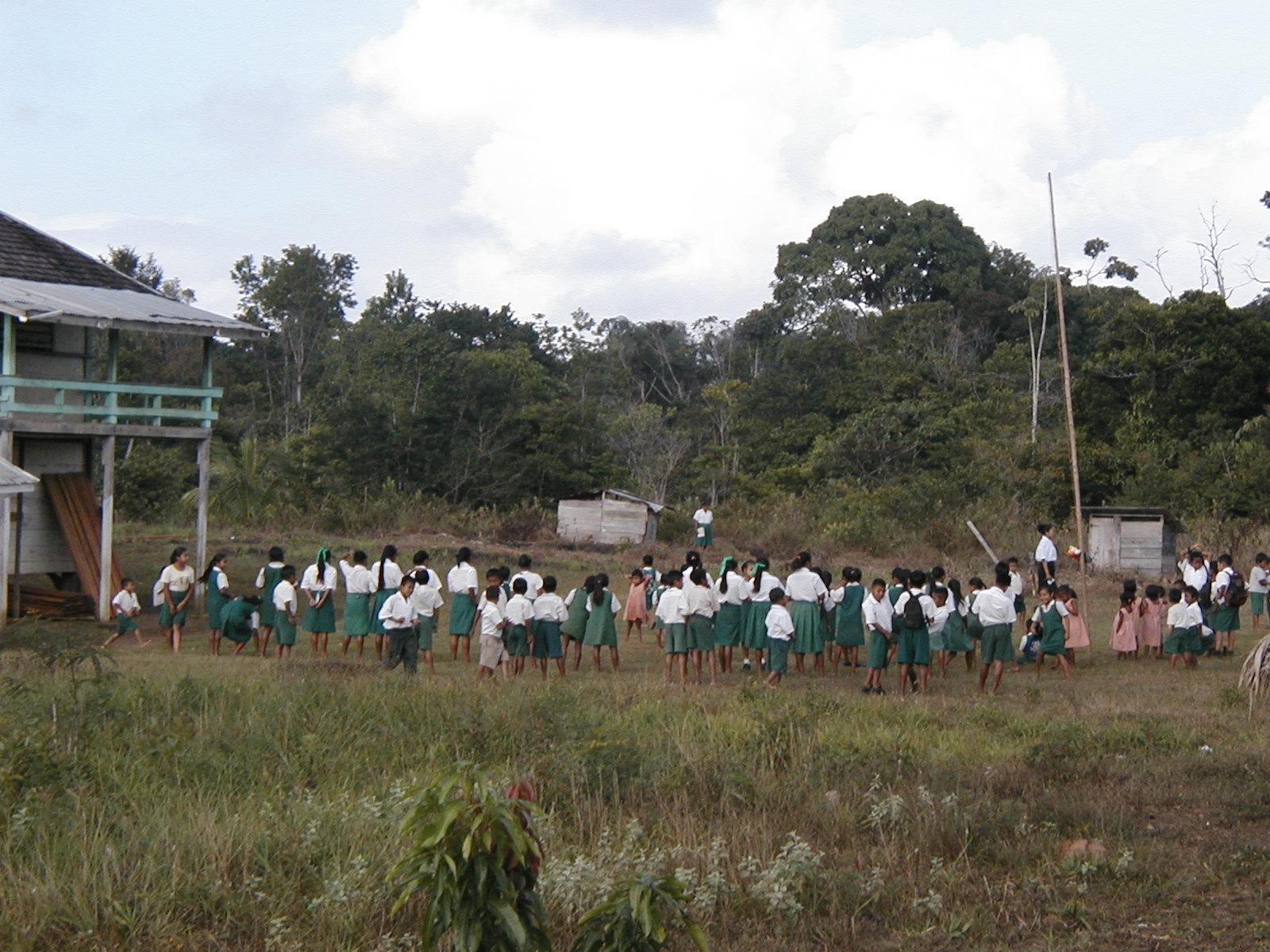 school children gather outside Jawalla Primary School building