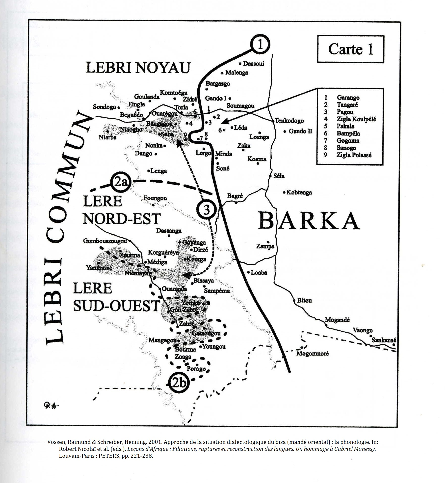 Bissa Dialect Map