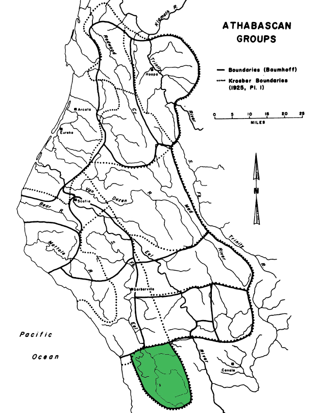 Location of Cahto territory (green) in northern Califorrnia, from Baumhoff (1958)