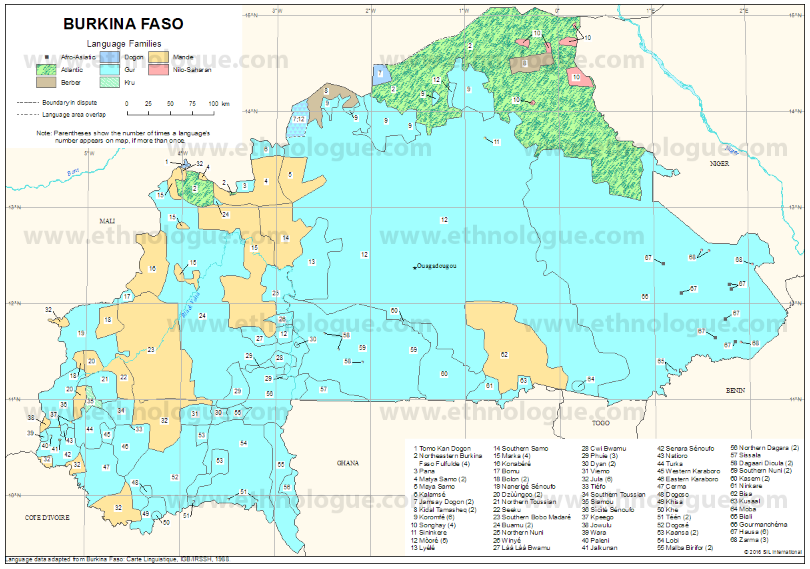 Burkina Faso Ethnologue map
