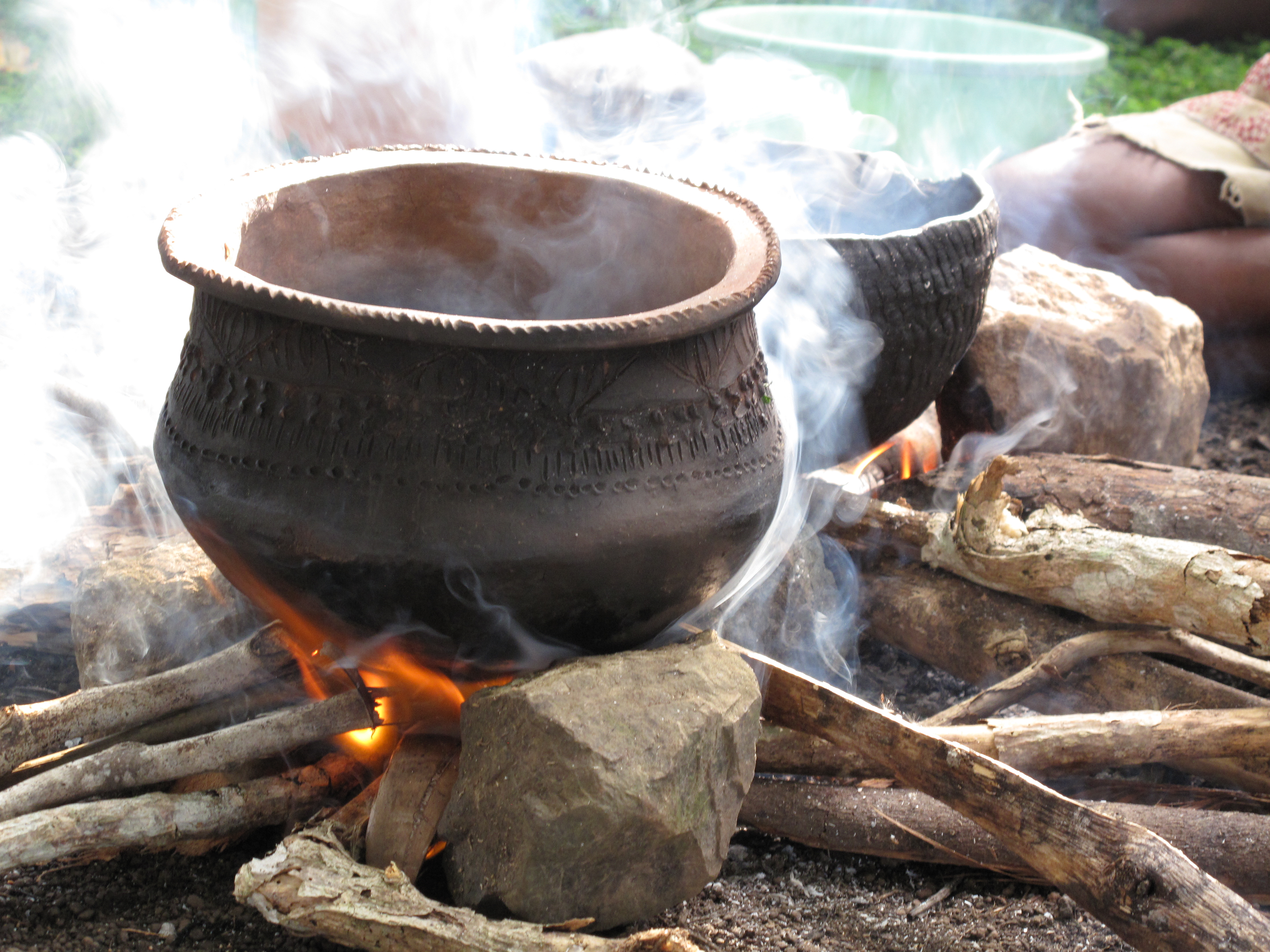 Traditional clay pot used for cooking in the past.