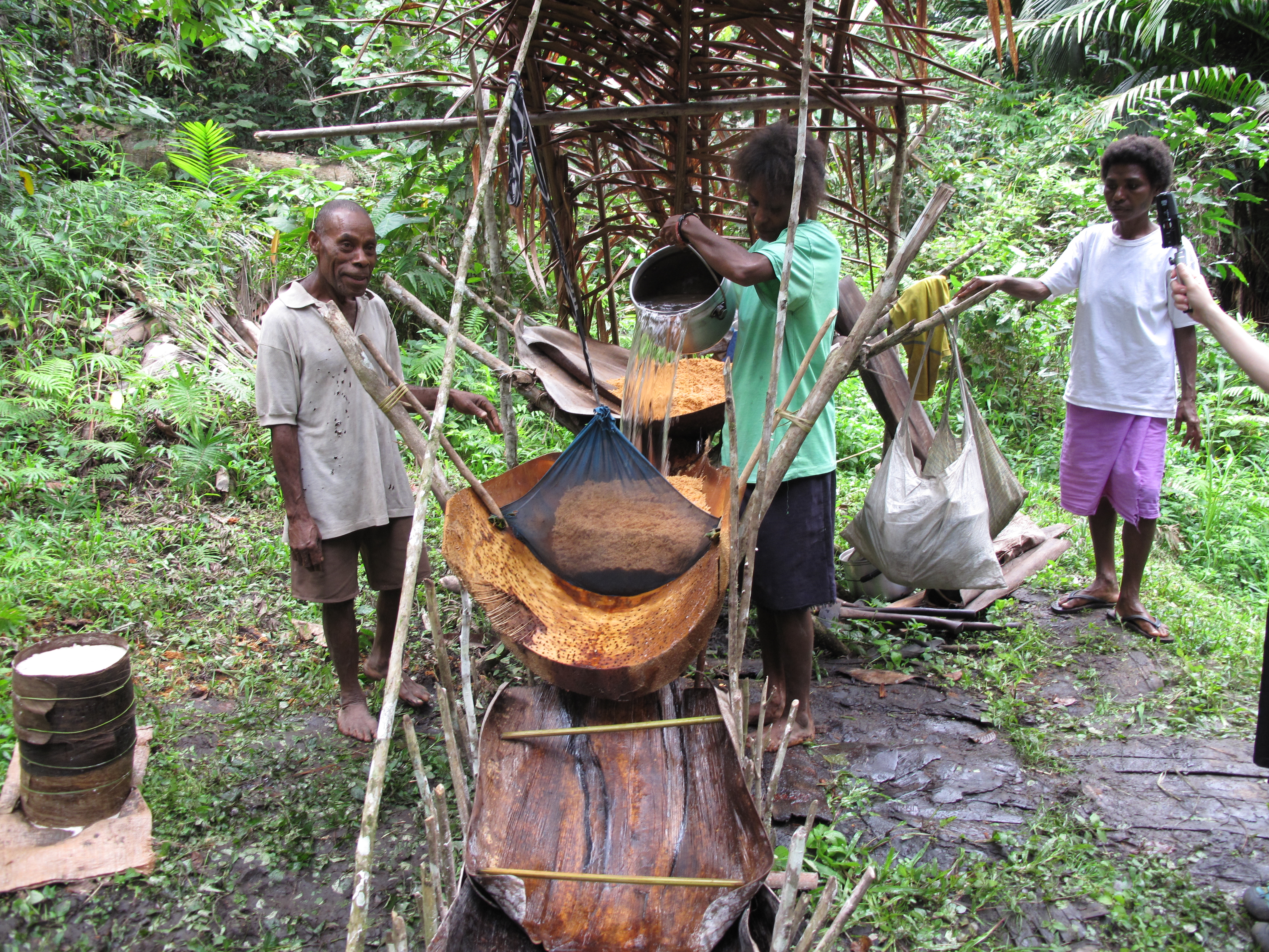 Washing sago with the traditional sago platform, /wuge sinyeq/.
