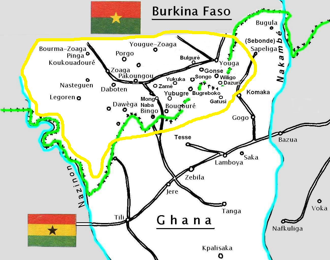 Villes et villages kusaasi au Burkina Faso. Kusaal towns and villages in Burkina Faso.