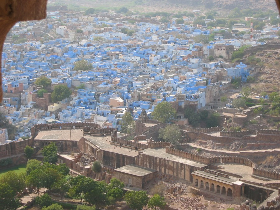 """A view of the """"Blue City"""" from the fort."""