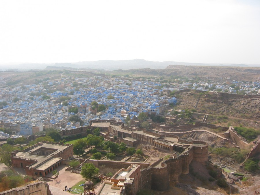 """A view of the """"Blue City"""" from the fort.  The city gets its name from the blue paint used on the houses of Brahmins.  Now used on houses regardless of caste."""