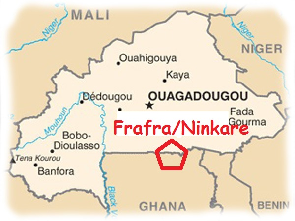 Localisation du Ninkare au Sud du Burkina Faso. The Ninkarse live in the southern part of Burkina Faso.