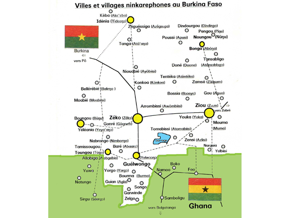 Villes et villages Ninkarephones au Burkina Faso. Towns and villages of the Ninkare speaking population in Burkina Faso.