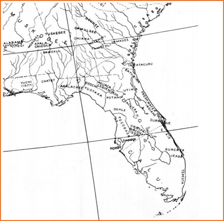 Timucua language area map