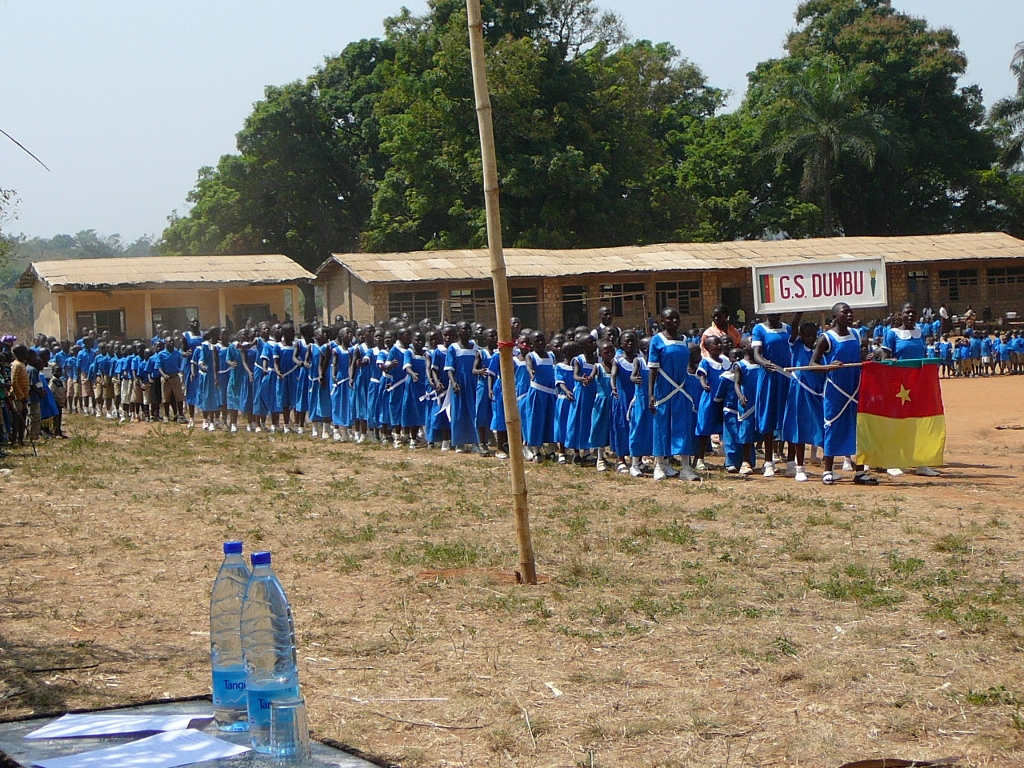 School children from the government primary school marching on Youth Day
